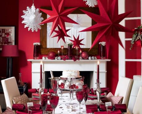 Phòng khách đẹp với gam màu đỏ đón giáng sinh